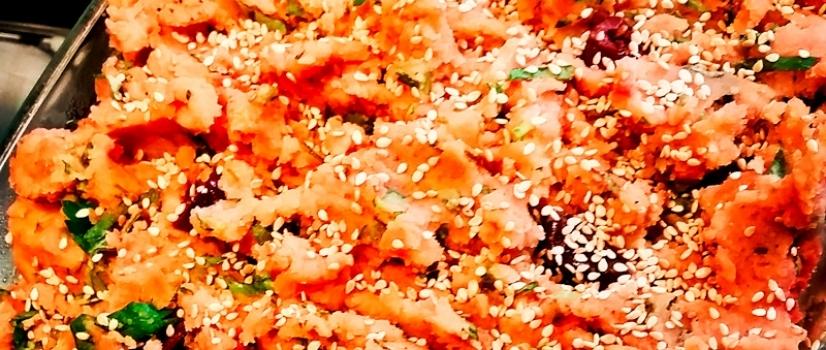 Süßkartoffelpü-Champagner-Sauerkraut-Auflauf